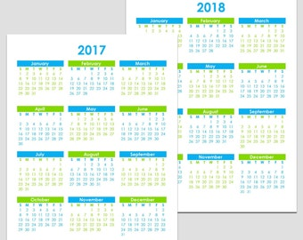 2017 & 2018 and other Yearly Calendars - Letter - 8.5 x 11