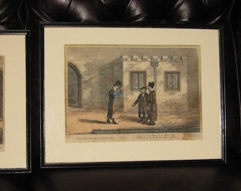 """THE RAKE'S PROGREFS At The Univerfity No. 2, 3 and 4 From 1806 All Original In Original Frames 18 1/4"""" x 14"""" Publyhc H. Humphrey London"""