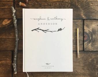 Rustic Wedding Guestbook. Custom Wedding Book. Keepsake. Love Birds Wedding. Love birds Wedding Gift. Wedding Journal. Rustic Wedding Book