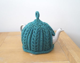 Hand Knitted Tea Cosy Teal Blue Green - IMBER