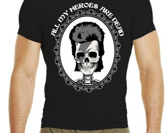 David Bowie Tribute Male T-Shirt All My Heroes are dead black skull White Duke glam punk rock - Handmade in Italy Limited Edition