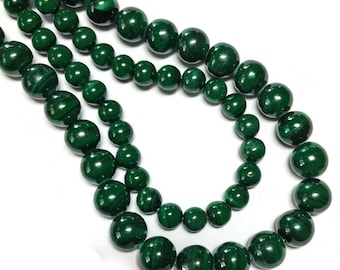 Malachite smooth rounds, natural, untreated, undyed, AA grade.  Select a size.