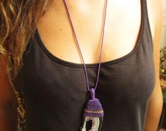 Agate & Quartz Slice Macrame Purple Threads Pendant handmade with natural Agate stone slice
