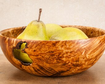 "Hand turned 9"" x 3"" spalted maple burl fruit bowl"