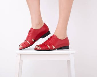 Red Sandals, Flat Leather Sandal Women's strappy Handmade shoes strips wide sandals free shipping New collection ADIKILAV On Sale 15% off