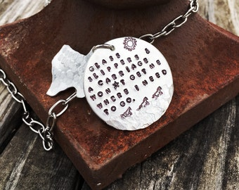 Just Give Me a Some Boots & a Horse-no glass slippers Hand Stamped Texas Necklace