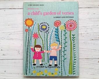 Vintage A Child's Garden Of Verses Book . Vintage Book . A Big Golden Book . Children . Kid's Story . Stitchery . Tiffany . 1969 . 1971
