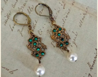 Emma Earrings ~ Victorian Garden, Edwardian, Art Nouveau-inspired, Baroque Pearl OOAK leverback earrings
