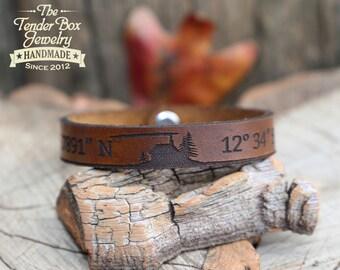 Personalized leather bracelet rustic leather bracelet GPS Latitude Longitude bracelet Coordinates leather bracelet engraved