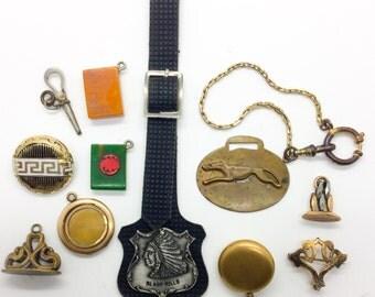 SALE! Victorian jewelry lot. Pocket watch chain, fobs pendants, dog, greyhound, gf, native american chief leather strap bakelite, key e62 eb