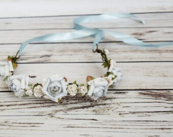 Handcrafted Powder Blue and Off White Flower Crown - Woodland Rose Crown - Something Blue Bridal - Blue Flower Wreath - Flower Girl Halo