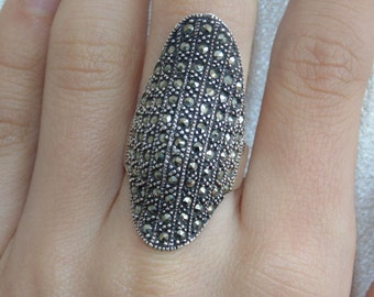 SR1256 Vintage Estate Sterling Silver Massive Long Huge  All Marcasites Statement Ring US Size 8 Jewelry For Her Jewellery 925