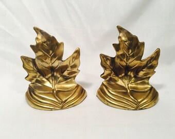 Vintage Pair of Gold Finish Maple Leaf Bookends, Maple Leaf Bookends, Gold Bookends, Leaf Bookends