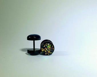 Green and Gold Galaxy Glitter Fake Plugs