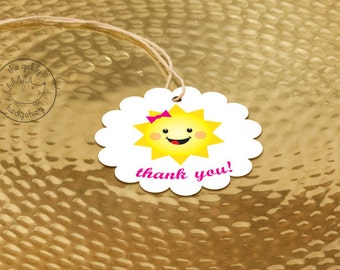 40+ Girl Sunshine Party Favor Tags, Pink You Are My Sunshine, Thank You Tags, Party Favor Labels, Little Miss Sunshine Birthday Favor Tag