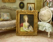 Miniature French baroque frame, Gold aged, 18th Painting Woman, Decorative collectible dollhouse accessory in 1:12th scale