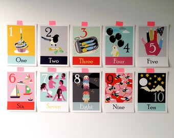 Kids Room Giclee Art Prints, Counting Numbers One to Ten