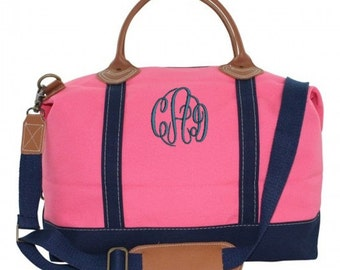 Monogrammed Weekend Luggage Tote Bag Overnight Canvas