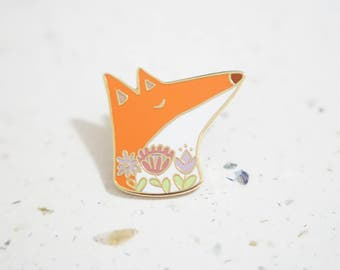 Fox Enamel Pin // Hard Enamel - Enamel Pin - Pin - Lapel Pin - Flair - Brooch - Collar Pin - Hat Pin - By Justine Gilbuena