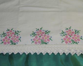 Vintage cross stitch pillowcase