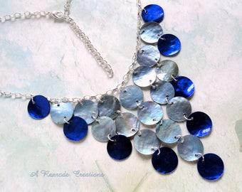 Blue Waterfall Necklace / Bib Necklace / Womens Necklace / Cascading Shell Necklace / Fashion Necklace / Beach Jewelry / Beach Necklace