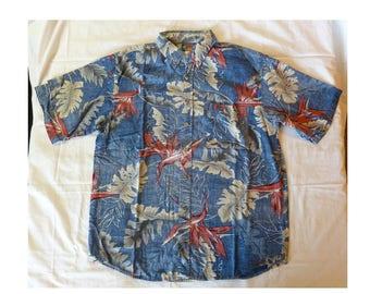 """Hawaiian Shirt~~""""Hawaii Blues"""" Hawaiian Shirt~~Size Medium~Aloha Shirt~Tiki Shirt~Surf Shirt~Tropical Shirt~~Batik Shirt~~Bird of Paradise"""