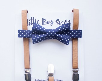 Boys Navy Bow Tie Leather Suspender Set, Boy Wedding Bow Tie, 1st Birthday Boy, Boys Clothes, Ring Bearer Outfit, Rustic Wedding, Boys Gift