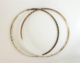 "Set of 2 Vintage Macrame Rings - 15"" Brown Marble Plastic Rings - Fiber Art Craft Supplies - Geometric Wall Decor - Mid Century Art Supplies"