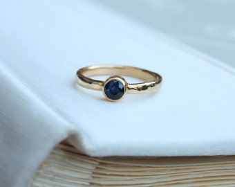 Sapphire Gold Ring - Blue Sapphire Ring - Gold 18k Ring - Authentic Saphire - Minimalist Ring - Elegant Dainty Ring - Handmade Jewelry