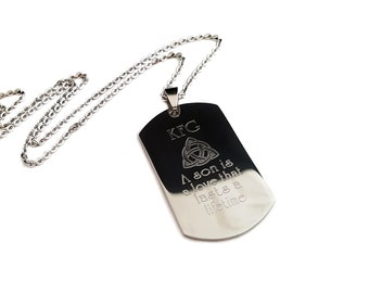 Personalized  Dog Tag + Son Necklace, Dad + Grandpa + Engraved Son Jewelry + Celtic Son Jewelry
