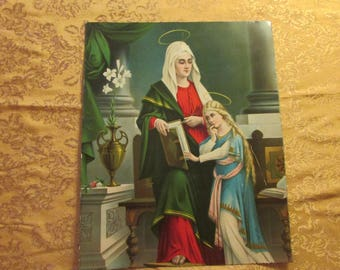 Saint Anne Teaching Mary The Mother of Jesus Her Scriptures when She was still a young Girl.  Painted on Tin.