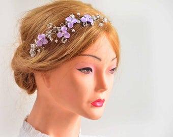 Lilac floral headpiece,Lilac pearl wreath, Bridal headband, Bridesmaids headband, Bridal headband, Pearl headpiece