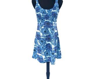 90's vintage blue gerbera daisy floral printed smocked skater girl mini dress MEDIUM