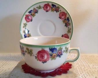 Ambassador Ware Staffordshire Rose - Large Tea/Latte Cup & Saucer