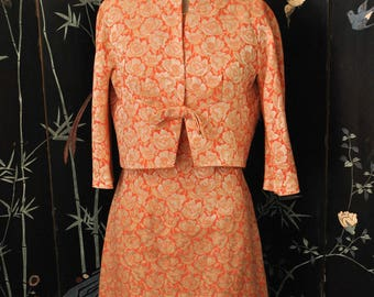 1960s Brocade Poppy Dress and Jacket - Small