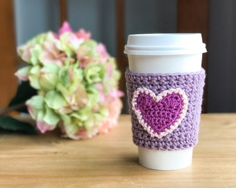 Valentines Day Gift for Her - Coffee Sleeve - Crochet Coffee Cozy - Crochet Coffee Sleeve - Reusable Coffee Sleeve - Eco Friendly Gifts