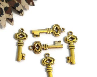 5 Pcs Gold Key Pendant Charms - Narcotics Anonymos 12 Step Recovery