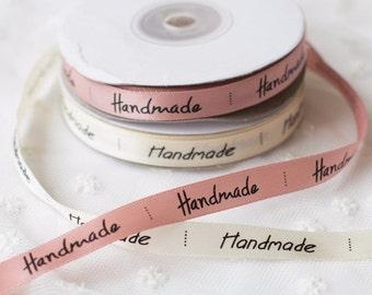 Satin Ribbon, Handmade Ribbon, Pink Ribbon, Ivory Ribbon, 25 Yards Satin Ribbon, Handmade Labels, Pink Bows, Ivory Bows, Gift Ribbon