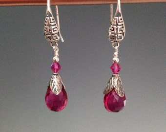 Pink Quartz earrings ~ Pink earrings ~ Pink jewelry ~ Easter jewelry ~ gift for her ~ Sterling earrings ~ Gift idea ~ Pink Tulips