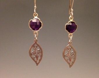 """Amethyst earrings ~ Sterling silver earrings ~ silver leaf design ~ purple jewelry ~ purple earrings ~ February birthstone - """"Plumeria"""""""