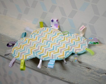 Doudou labels cloud rafters - pastel colors - white, turquoise, green, gray violet - birth gift - baby 3-12 months