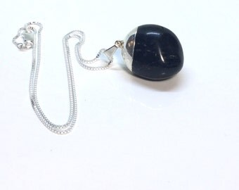 Natural Black Onyx Pendant Sterling Silver Black Onyx Necklace Natural Onyx Pendant Black Stone Pendant Sterling Necklace Rustic