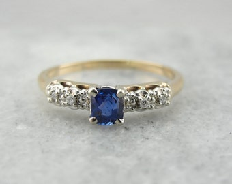 Bright Blue Sapphire Engagement Ring in Yellow and White Gold 7WDETK-R
