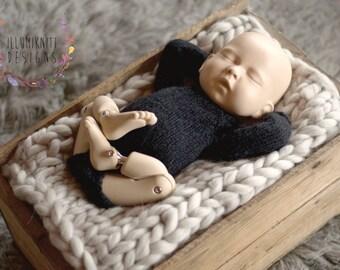 Newborn Knit Romper - Black Knit Romper - Black Knit Onesie - Newborn Black Onesie - Long Sleeved Onesie - Newborn Black Romper - Photo Prop