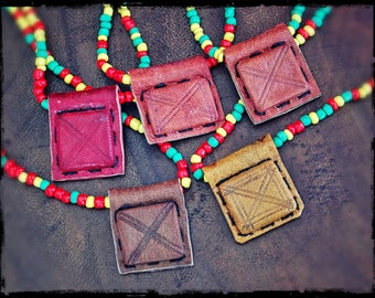 African Rasta Gri Gri Amulet Necklace from Mali - Tribal Tuareg Necklace - African Leather Talisman - Rasta Bead Necklace
