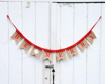 Be Merry Burlap Snowflake Pennant Banner