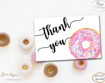 INSTANT DOWNLOAD - Pink Donut Thank You Card - Doughnut Thank You Note - Donut Birthday - Donut Baby Shower - Donut Card - Instant 0233 0234