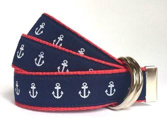 Child Belt - Nautical Belt - Anchor Belt - Boys Belt - Canvas Belt - Ring Bearer Belt - Ringer Bearer Outfit - Navy Toddler Belt