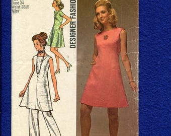 1970's Simplicity 8775 Designer Fashion Mod A-Line Dress or Tunic Size 12