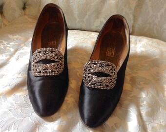 1920s Vintage Shoes Black Satin Steelcut Buckles Hanan & Son London -New York -Paris